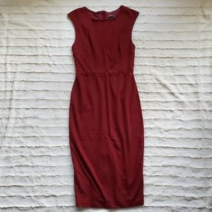 Express Fitted Burgundy Zip Dress
